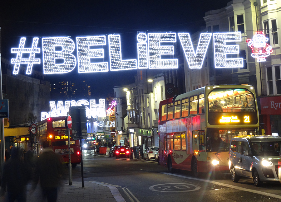 Believe - Gala Lights bespoke across street decoration
