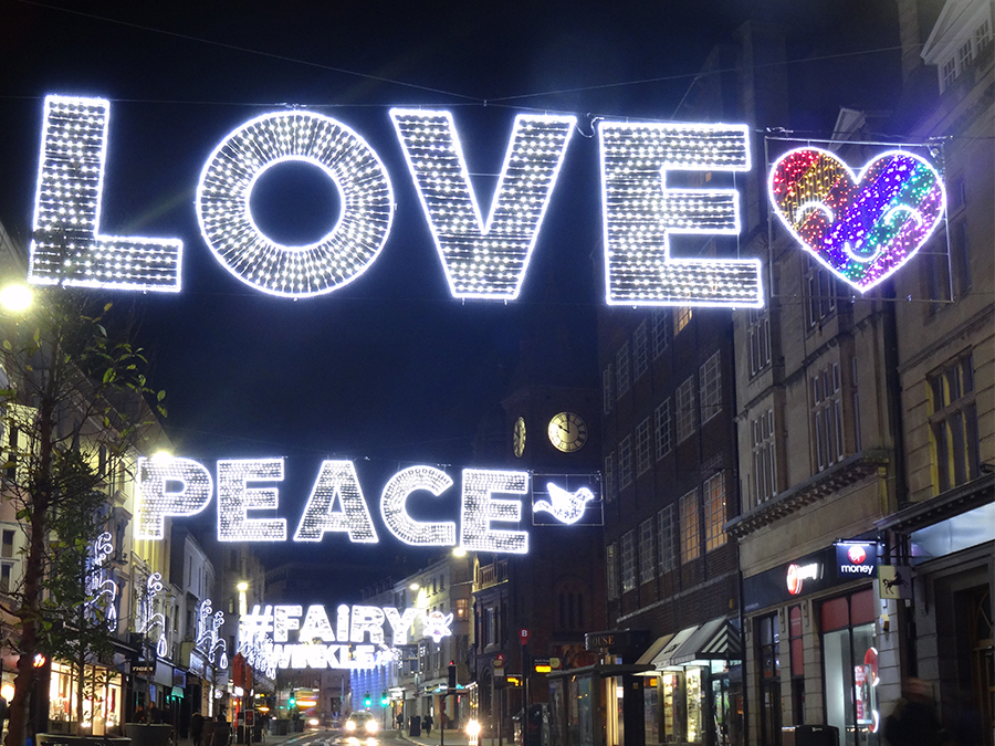 Love, Peace, Fairy bespoke Gala Lights decorations