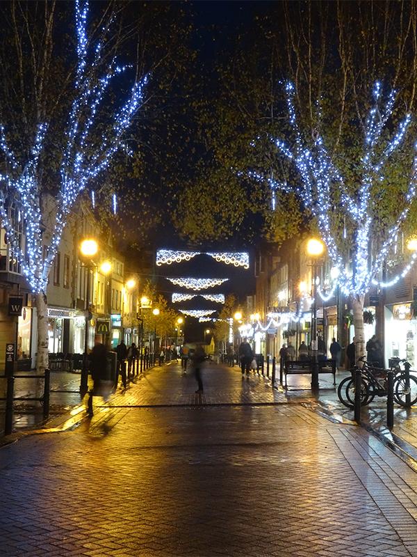 Carlisle tree lights and across street decorations