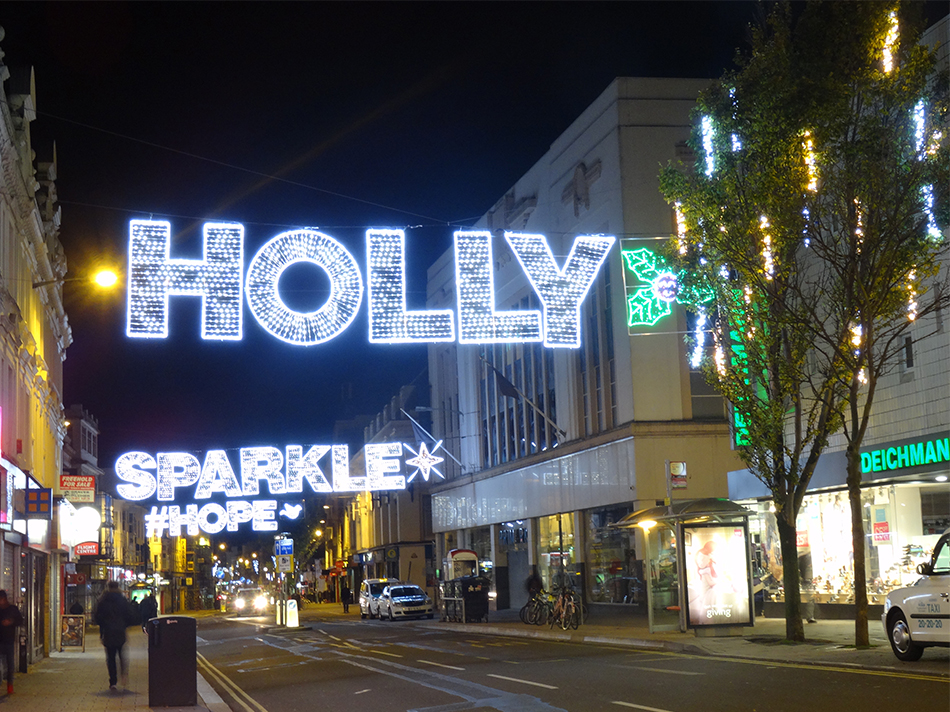 Holly Sparkle & Hope across street decorations in Brighton