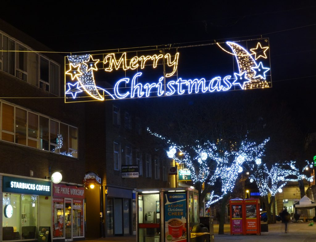 Canterbury bespoke Merry Christmas sign Christmas Lights and Tree Lights