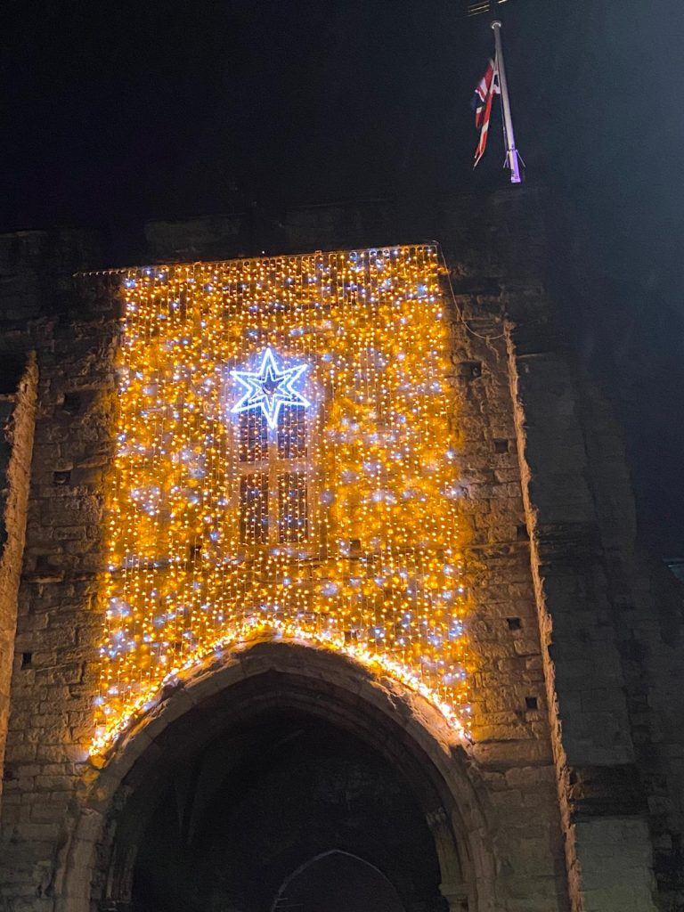 Historical building festive illuminations