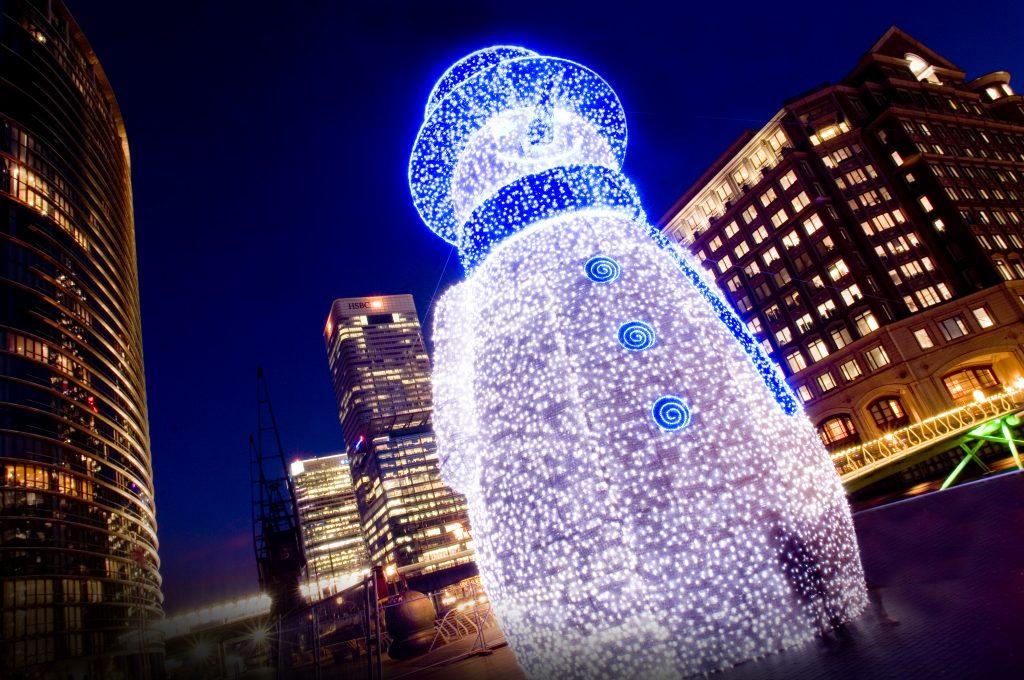 Giant 3D Snowman London Canary Wharf Christmas Lights
