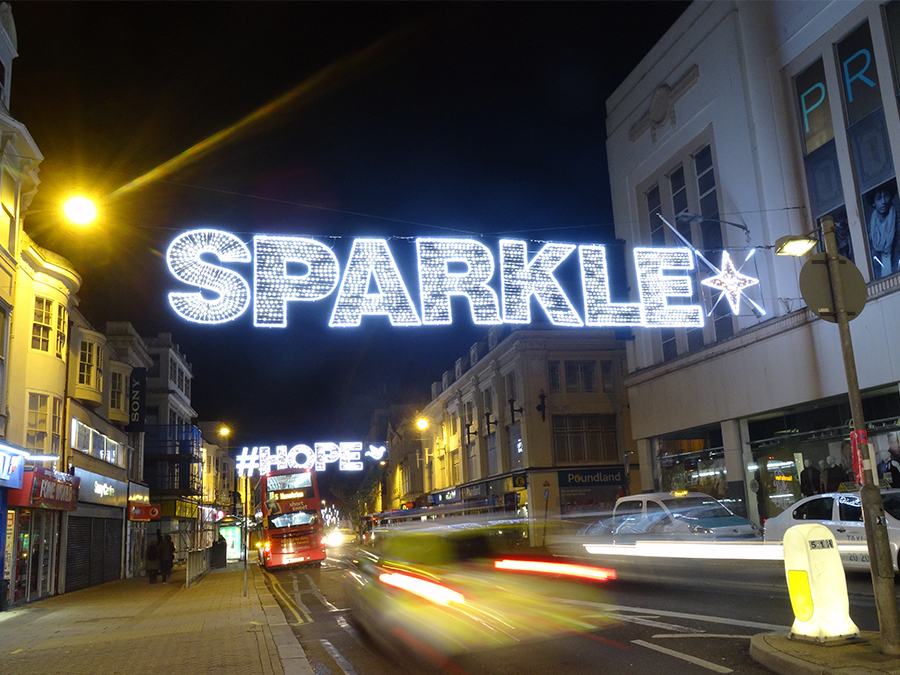 Brighton bespoke across street decoration - Sparkle Christmas lights