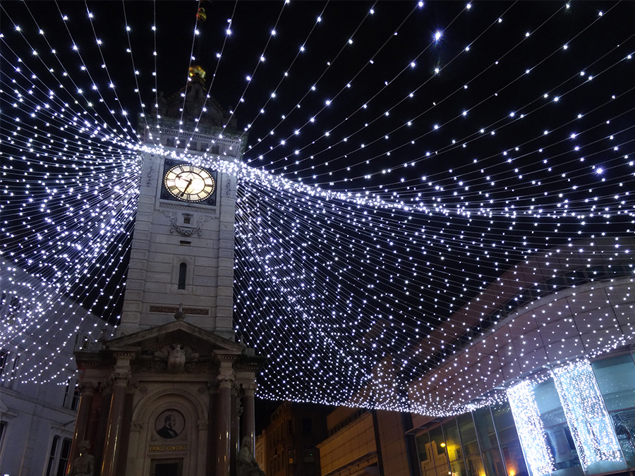 Brighton clock tower canopy of lights Christmas lights