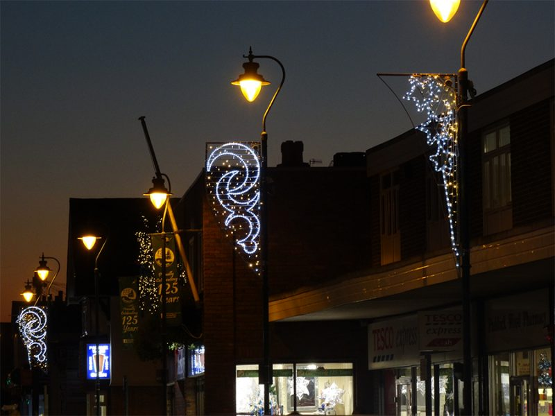 Christmas lights lamp column motifs Paddock Wood