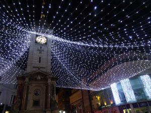 Brighton clock tower canopy of Christmas lights
