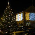 Christmas Tree, Santa Motif and Glittering Curtains of Lights Christmas lights