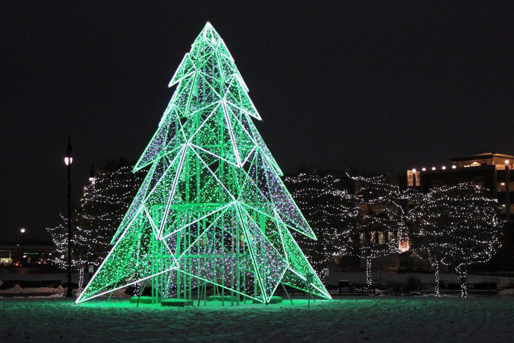 Christmas lights 3D geometric tree